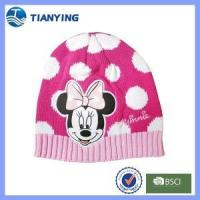 China girl cute mickey pattern acrylic knitted beanie hat on sale
