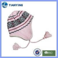 Buy cheap girl jacquard ear-flap with long hat braid acrylic knitted hat from wholesalers