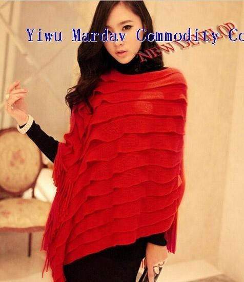 Quality New Fashion Acrylic&Lanital Macrame Knitted Cloak Tippet Shawl/Cappa Scarf for sale