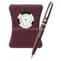 Harvest Ballpoint Leather Clock Set