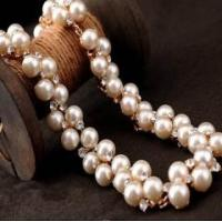 Buy cheap New jewelry double layered latest pearl neckalce designs, modern rhinestone pearl necklace from wholesalers