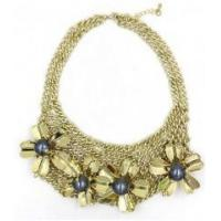 New style women female fashion newest design flower gold alloy necklace Manufactures