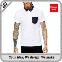 China short sleeve mens polo shirts with pocket on sale