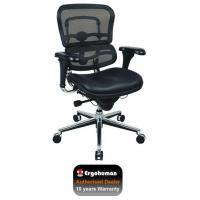 Office Chairs Ergohuman Chair Leather Seat, Black Mesh Back Manufactures