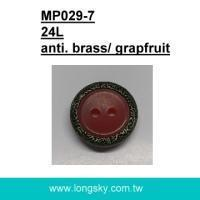 Buy cheap Available in stock (#MP029-7/24L) grapefruit resin with brass metal rim button for braces from wholesalers
