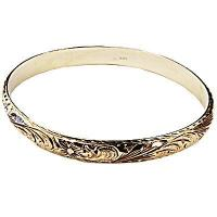 China 14K YG/PG 8mm Plumeria Queen Scrolling Diamond Cut Double Bangle on sale