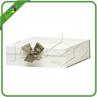 China Gift Boxes Plain White Cardboard Gift Boxes with Ribbon on the Flap on sale
