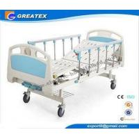 ABS Handrail Steel Bedboard double Cranks Manual Medical Hospital Bed White and Brown Manufactures