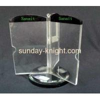 Three sided rotating acrylic table menu holder HCK-012 Manufactures