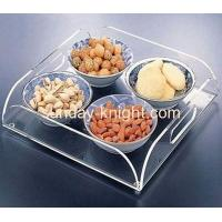 Custom acrylic food display tray can holder 4 bowls HCK-010 Manufactures