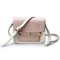 Good quality low price ostrich cow leather small cell phone single shoulder bag for girls