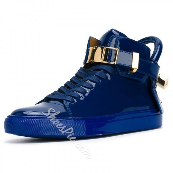 Quality Shoespie Blue Patent Leather Men's Sneakers for sale