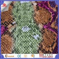 Camouflage snake skin design faux leather fabric for shoes in China product Manufactures