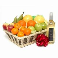China fruit basket with wine NO.4 deliver gift to shanghai on sale