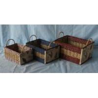 Mixed woven paper rope and seagrass cardboard baskets