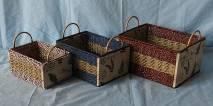 Quality Mixed woven paper rope and seagrass cardboard baskets for sale