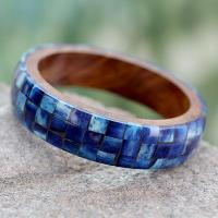 Wood Bangle Bracelet with Bone Inlay,