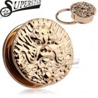 Chinese Zodiac Dragon Logo Casting Rose Gold Stainless Steel Ear Plug Manufactures