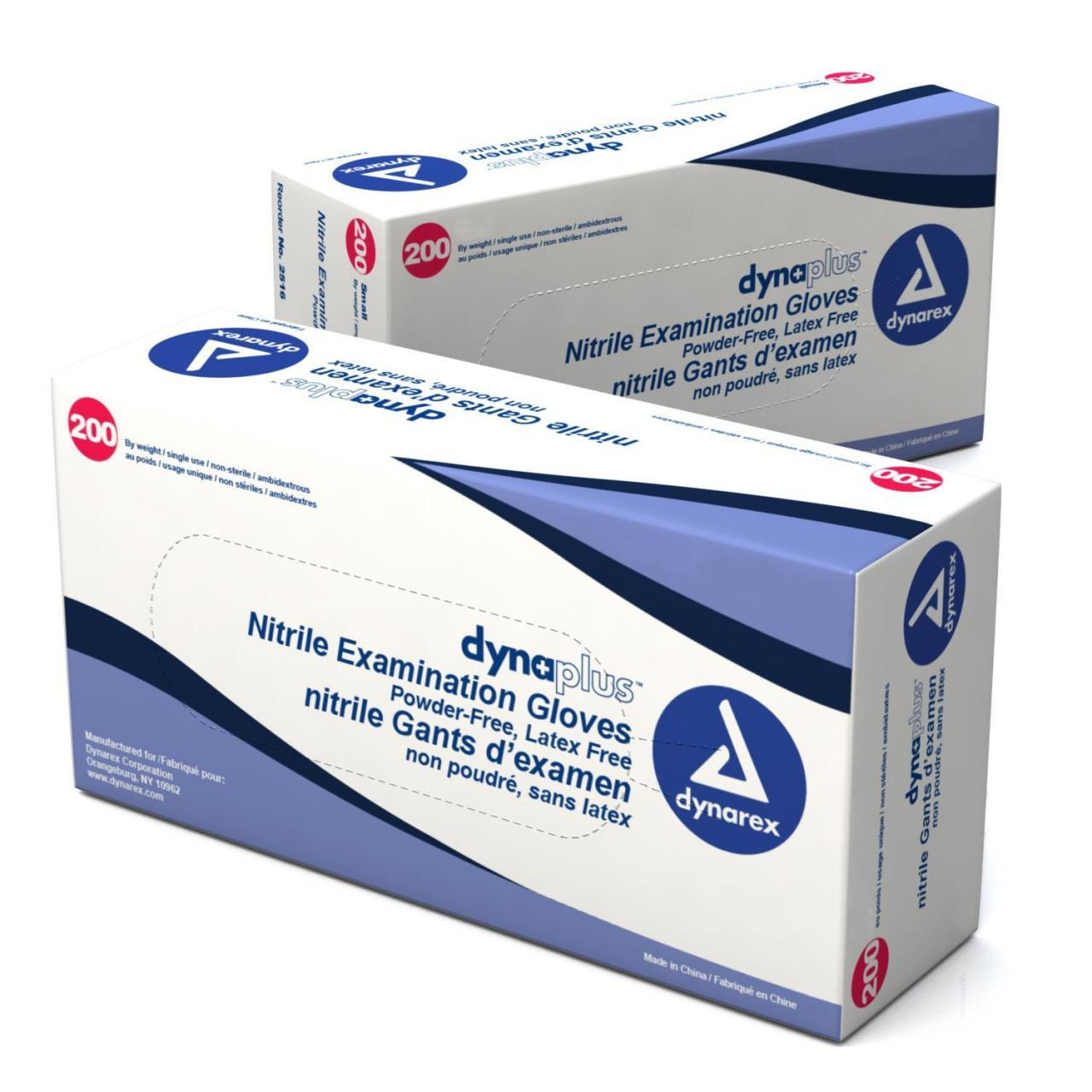 DynaPlus Nitrile Exam Gloves (non-latex) Powder Free (economy) - XS, B 200 BxDYX-2515 Manufactures