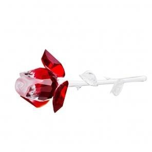 China Preciosa Crystal Rose with Red Petals - 6.7 inches