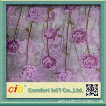 Quality Embroidery Print organza curtain fabric for sale