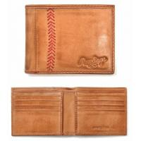 China Vintage Baseball Stitch Bifold Leather Wallet by RawlingsONLY 2 LEFT! on sale