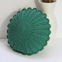 China Emerald Green Color Crochet Round Cushion Pillow on sale