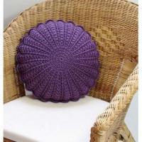 China Purple Violet Crochet Round Cushion Pillow on sale