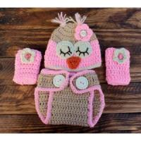 Crochet BrownPink Owl Infant Set Hat Diaper Cover Leg Warmers Manufactures