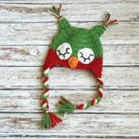 Christmas sleepy owl hat for boys and girls, crochet christmas hat in red and green Manufactures