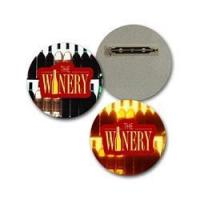 Lenticular Lapel Pin with custom design, The Winery, bottles light up in the background, flip Manufactures