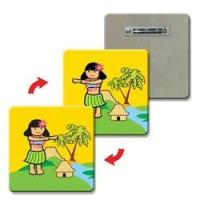 3D Lenticular Lapel Pin rounded square Hula Girl 1 X 1 Flip effect Colorful Boxes Stitch Manufactures