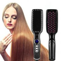Anti Scald Black LED Hair Straightener Brush With Dual Voltage Manufactures