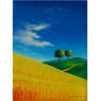 China Fresh hand-painted oil painting, landscape of Provence, knife painting series on sale