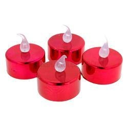 Quality Christmas Sparkle & Shimmer Battery Tea Lights (Red) for sale