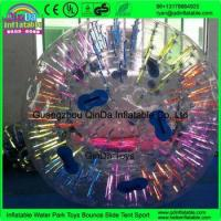 China PVC/TPU Shine Light Glow Inflatable Human Sized Hamster Ball Tube For Sale on sale