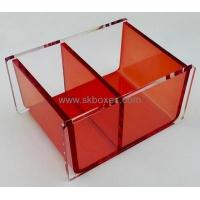China Hot sale acrylic box tissue paper box design clear plastic storage box with dividers BTB-134 on sale