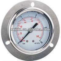 China 50mm 2.0 Axial Silicone Oil Filled Pressure Gauge Crimped Type With Front Flange on sale