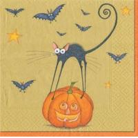 Bat Cat gold Paper Luncheon Napkins - 20 per package Manufactures