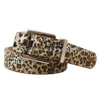 Good Quality custom leopard print women double-sided PU pin buckle leisure belt Manufactures