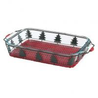 Pyrex 3-qt Baking Dish w/ Red Christmas Tree Basket Manufactures