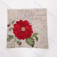 Classical Decorative Throw Couch Cushion Embroidered Red Flower Pillow Covers