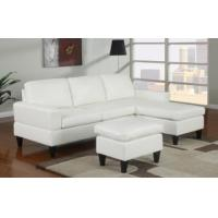 Sausalito Cream Leather Small Sectional Sofa by Urban Cali Manufactures