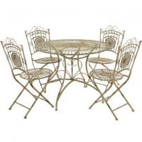 Tables & Chairs Rustic Metal Garden Dining Set - White Manufactures