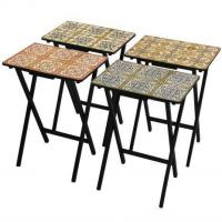 Tables & Chairs Victorian Tile TV Tray Set with Stand Manufactures