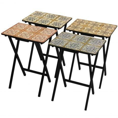 Quality Tables & Chairs Victorian Tile TV Tray Set with Stand for sale
