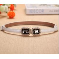 Adjustable Thin Belt With Diamonds Buckle For Women