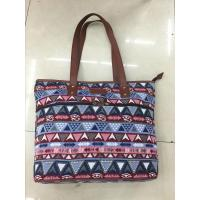 Buy cheap Jacquard Ladies Leisure Canvas Bag With Retro Edge Lattice Pattern from wholesalers