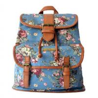 Buy cheap Canvas Screen Printing Backpack With Faux Leaher Anti Metal Trim Travel Bag from wholesalers