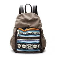 Fashion Contrast Color Backpack With National Style Printing Travel Bag Canvas And Faux Leather Manufactures